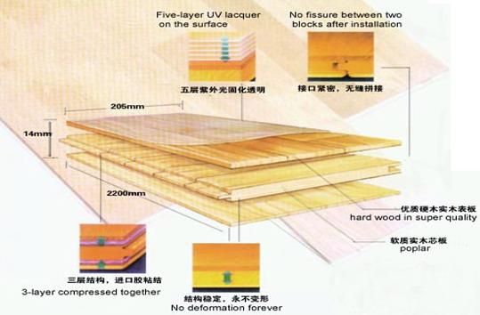 图解:三层实木复合地板结构