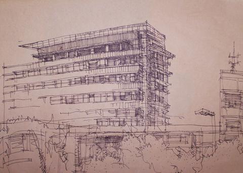 现代建筑速写图片 用速写记录艺术感受