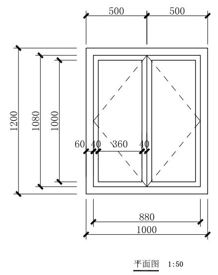 该窗窗框断面尺寸为60mmx60mm,窗扇边框断面尺寸为40mmx40mm,玻璃厚度