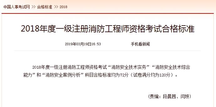 中国人事考试网 2018一级消防工程师考试合格标准为72分(狗万app苹果_狗万提现最低标准_狗万代理怎么分红发布)