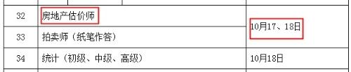 2020年陕西房地产估价师考试时间