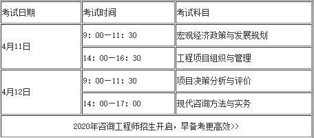 漢中市2020年咨詢工程師考試時間
