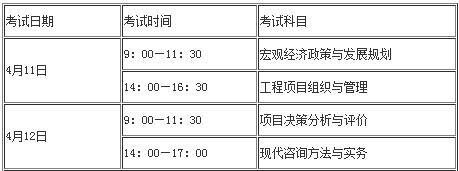 福建三明2020注册咨询工程师(投资)考试报名时间