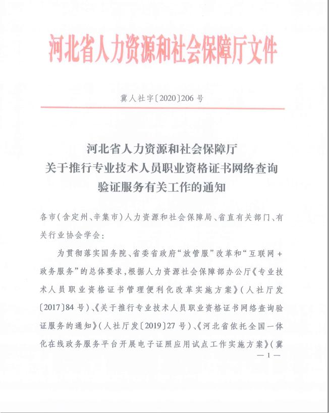 河北关于推行专业技术人员职业资格证书网络查询验证服务工作通知