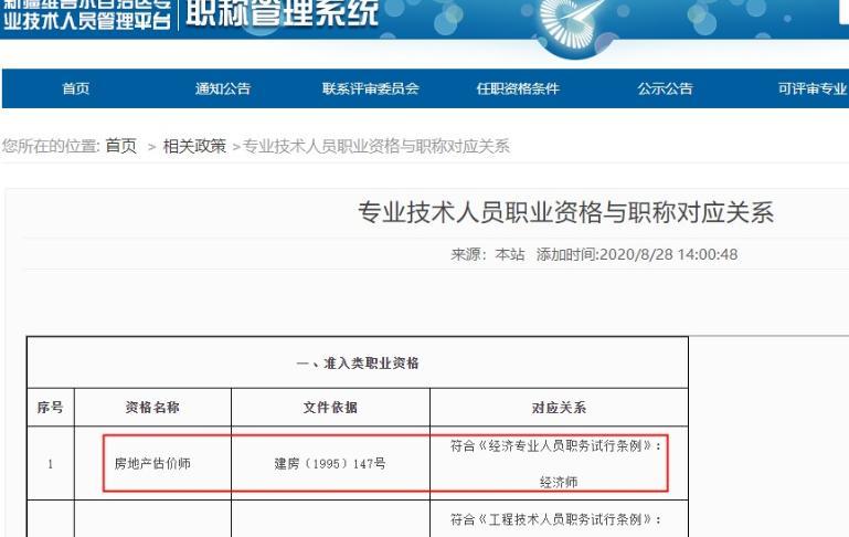 新疆房地产估价师对应职称为经济师