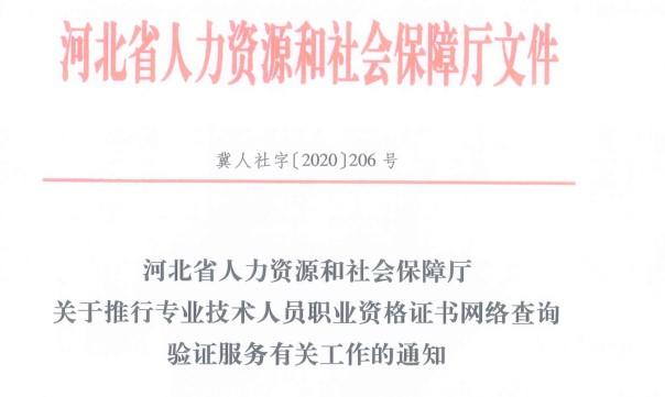 河北省人力资源和社会保障厅关于推行专业技术人员职业资格证书网络查询验证服务有关工作的通知
