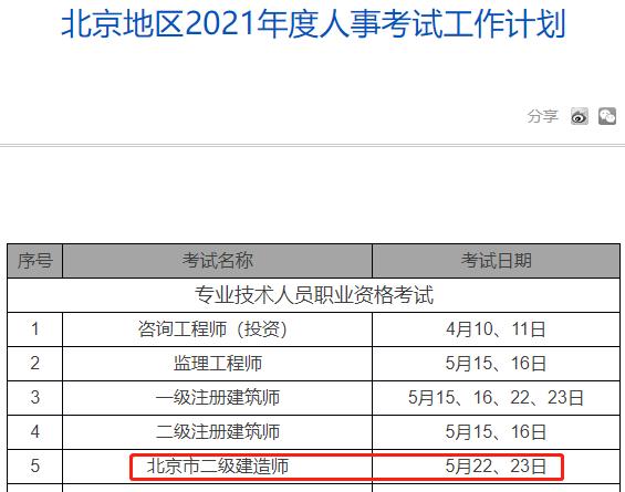 2021年北京二级建造师考试时间:5月22、23日