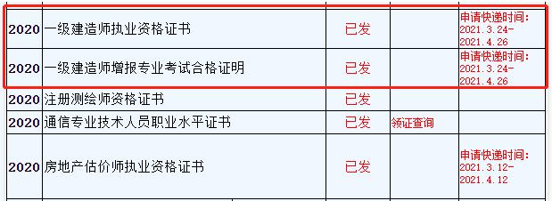 浙江义乌2020年一级建造师证书快递申请时间4月26日截止